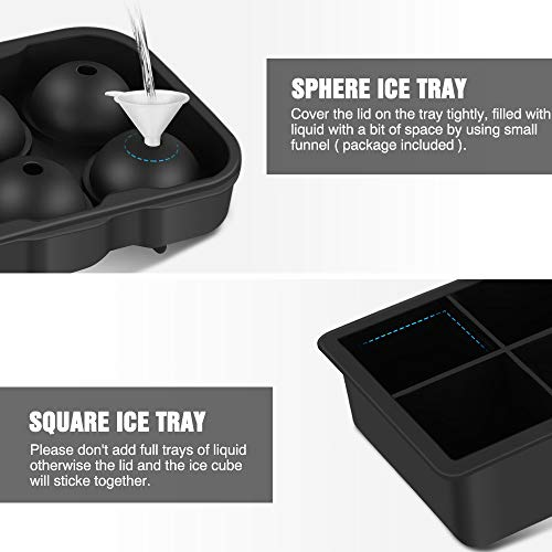 Ice Cube Trays 2 Pack, Morfone Sphere Ice Ball Mold Large Square Ice Mould Flexible Silicone Ice Trays with Lid for Whiskey, Cocktail, Chocolate, BPA Free and LFGB Certified