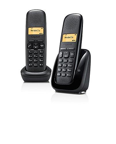 Gigaset A150 Duo Noir - Teléfono (Teléfono analógico, 50 entradas, Negro)