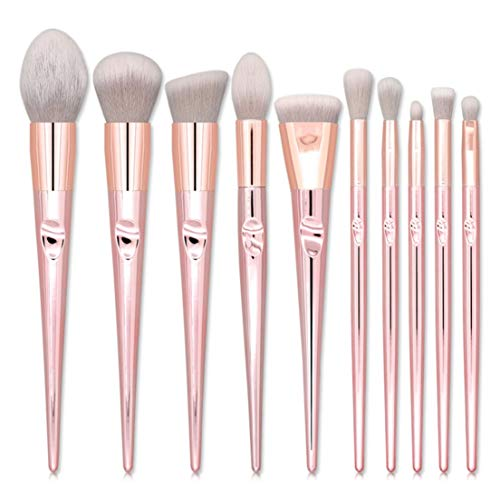DF-FR Outil de maquillage de beauté 10pcs pinceaux de maquillage ensemble cheveux gris Golden Handle mélange visage poudre Blush Concealers Make Up pinceaux ensemble gris et or