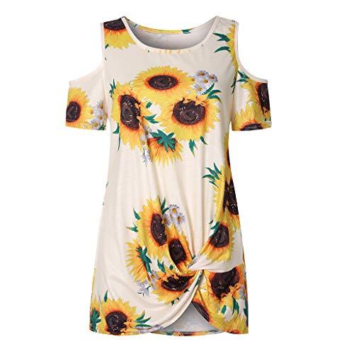 Xmiral T-Shirt Bluse Damen Kurzarm Rundkragen Gedruckte Schulterfrei Oberteile Geknotet Saum Tops Summer Frühling Urlaub Elegant Wilde Slim Fit Shirt(a Weiß,XL)