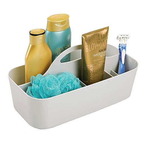mDesign Badezimmer Korb mit Griff – als Kosmetik Organizer, Küchen Aufbewahrungsbox oder Handtuchhalter – kleine Bad Box aus robustem Kunststoff – hellgrau