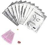 SIISMI 50 pares Gel de Ojos Almohadillas +25 Piezas Desechables Cepillos de Pestañas para extensión de pestañas
