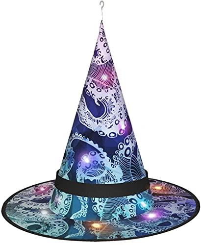 KINGAM Sombrero abstracto de la bruja de los tentáculos del pulpo hipster con la luz, para la fiesta de Halloween, disfraz, accesorio y diario