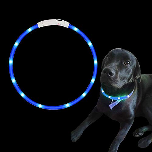 SaponinTree LED Collar de Perro de Mascota, Collar de Perro de Seguridad LED Intermitente con USB Batería, 3 Modos de LED Perro Collar Brillantes y Longitud Ajustable para Perros, 75CM (Azul)