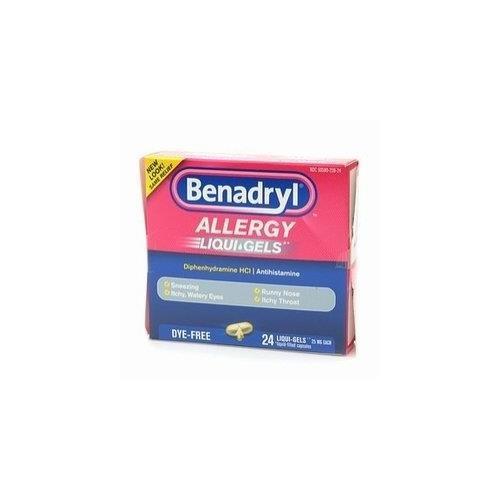 Benadryl Dye-Free Allergy Relief LiquiGels -- 24 Liquid Gel Capsules - Buy Packs and SAVE (Pack of 3)