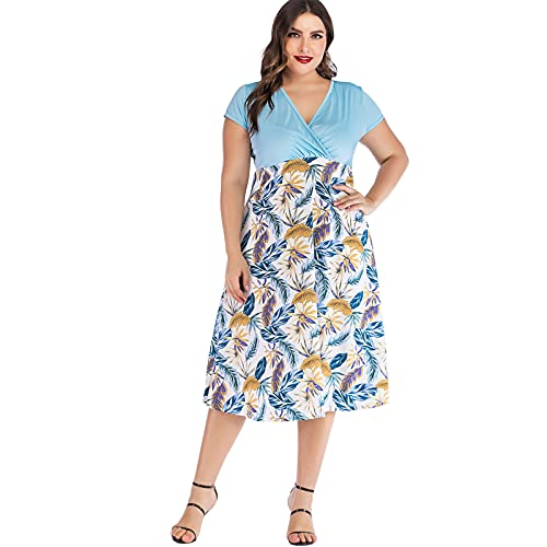 AMhomely Women Dress Sale Clearance Ladies Casual Plus Size Printing V-Neck Short Sleeve Knee Length Skirt Dress Party Elegant UK Size