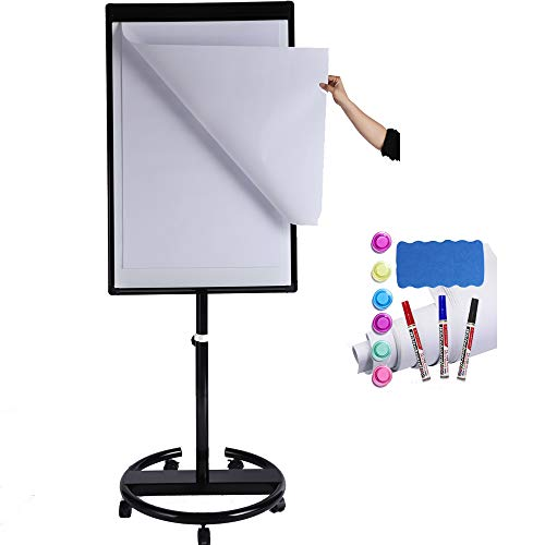 DexBoard Magnetic Mobile Whiteboard/Height Adjustable Dry Erase Board Easel on Rolling Stand, 40 X 28 Inch, w/ Flipchart Easel Pad, Magnets & Eraser, Black
