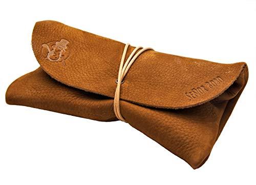 Mäppchen SEÑOR BOBO - Handgemacht in DE - Hochwertiges Nubuk-Leder - Manufaktur-Qualität aus Bayern, Federmäppchen, Schlamppermäppchen, Leder-Etui, Pfeifentasche (Nuss-Braun)