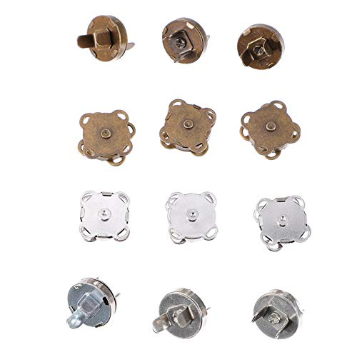 WINOMO 12 Piezas Cierre de Botón Magnético Broches 14Mm Cierre Magnético para Coser Broches Botones a Presión para Coser Ropa de Cuero Artesanía Monederos Bolsa Accesorio