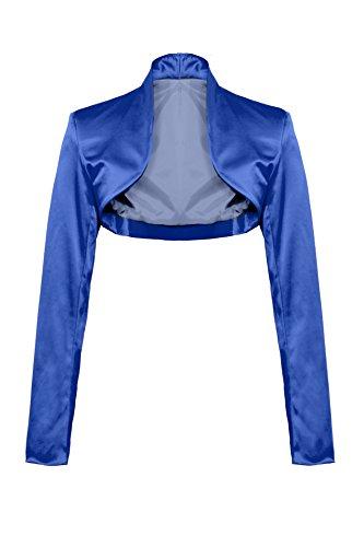 Elegante bolero a maniche lunghe in raso blu royal XXL