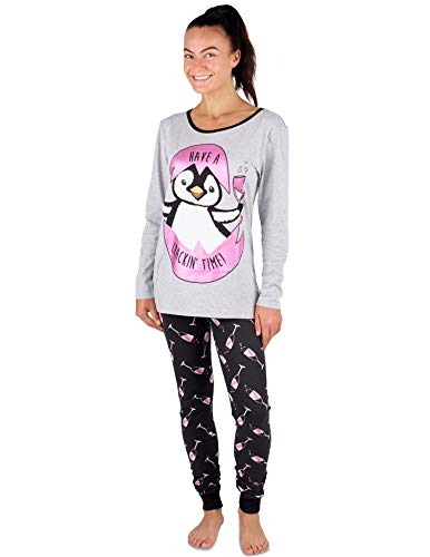 Pijama Mujer Chica 100% Algodón Set Mickey Mouse Minnie Mad Catz Tallas 36-50, Pingüino Gris Y Rosado Y Prosecco, M 40-42