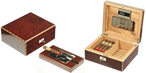 Caja para puros Humidor Humidificador para 50puros de Radica de canforo brillante Lubinski E44164