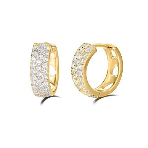 Piccolo Piercing Cartilagine Orecchini a Cerchio per Donna in Placcato Oro Giallo Argento Sterling 925 con Zirconia Cubica Gioielleria - Diametro: 15 mm
