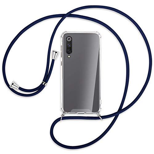 mtb More Energy® Collar Smartphone para Xiaomi Mi 9 SE (5.97'') - Azul Oscuro - Funda Protectora ponible - Carcasa Anti Shock con Cuerda