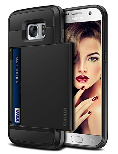 Vofolen Case for Galaxy S7 Case Wallet Slidable Card Holder Slot ID Pocket Protective Hard Shell Shock Absorbing TPU Tough Rubber Bumper Armor Scratch-Proof Case Cover for Samsung Galaxy S7 Black