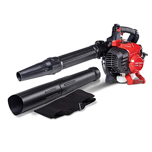 CRAFTSMAN BV245 27cc 2-Cycle Full Crank Engine Gas Powered Leaf Blower - Handheld Gasoline Blower with Vacuum Kit for Lawn Care, Liberty Red
