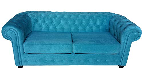 Chesterfield Style Sofa bed Venus 3 Seater 2 Seater Fabric Turquoise Settee (2seater, Ocean)