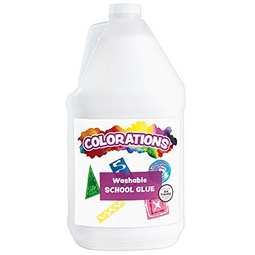 Colorations Washable White School Glue(1 Gallon) –Adheres and Bonds Easily to Paper, Wood, Felt, Foam and More –Dries Clearand Flexible–Perfect for Slime and Art Projects–Washable,Non-Toxic