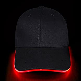 Customer reviews Fashion&Cool Baseball Cap Light Up LED Baseball Hat Sports Travel Party Club Outdoor Cap with LED Light Brim and Adjustable Velcro/ Come with Batteries (Red)