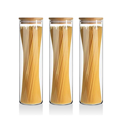 Queta 3pcs Tarro de Vidrio de Almacenamiento,Tarros de Cristal Botes de Cristal...