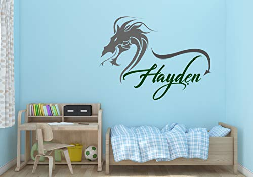 Ottosdecal Dragon Custom Name - Wall Decal Vinyl Sticker for Home Bedroom (25' x 17')