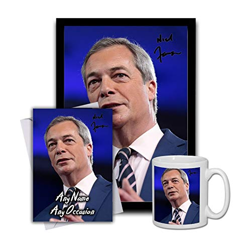 Star Prints UK Nigel Farage 1 Gift Set Bundle 2019 - Large 11cm Mug, A4 Framed Poster and Matching Birthday or Christmas Card (No Personalised Card)