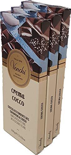 Generico 3 tabletas de chocolate Venchi Fondant al coco 100 g