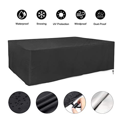FRGHF Protective Cover for Garden Furniture Waterproof Oxford Cover with Drawstring for Garden Furniture Garden Table