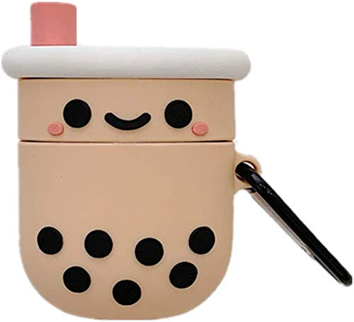 Airpods 1&2 Charging Case Cover | Cute Cartoon Airpods Case | Silicone AirPod Cover with Keychain | Cute Earbud Case Airpods for Kids Teens Girls Boys (Milk Tea)