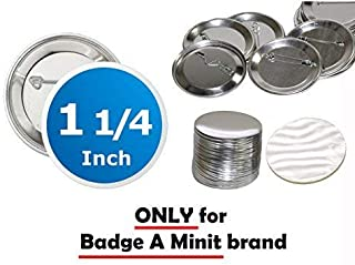 1.25 inch Diameter Round Pin Buttons - ONLY for Badge A Minit Machines 100 Pack Generic Compatible - 32 mm