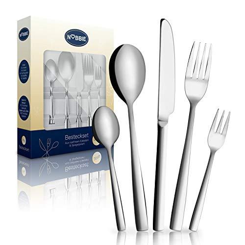 NOBBIE® Premium Besteckset – [30] Teile Dinner Set – Besteck Edelstahl Rostfrei – Besteck Set [6] Personen