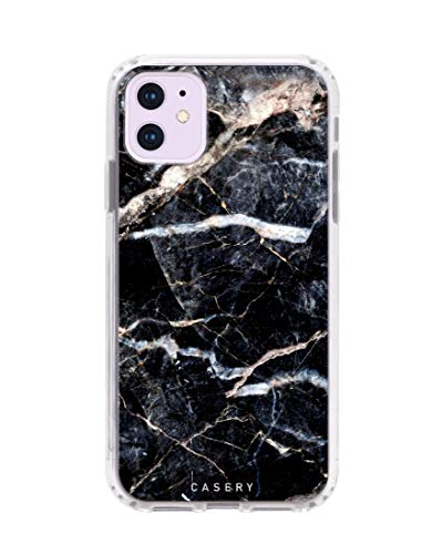 Casery Case Designed for The Apple iPhone XR, Lightning (Black Marble) - Military Grade Protection - Drop Tested - Protective Slim Clear Case