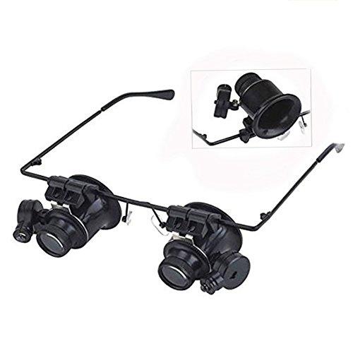 LEACK Puedes Ver la Lupa de reparación Gafas Jeweler Watch con LED de luz 20x, Negro, 165 * 150 * 45mm