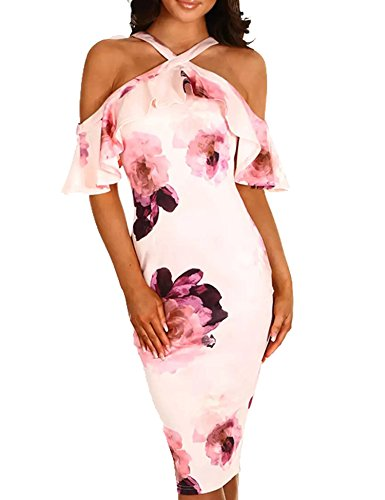 Murimia Womens Dresses Summer Off The Shoulder Ruffle Floral Print Bodycon Midi Dress Pink
