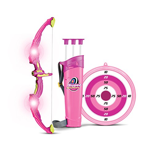 SainSmart Jr. Kids Bow & Arrow Toy, Princess Basic Archery Set Outdoor Hunting Game with 3 Suction Cup Arrows, Target & Quiver, Pink