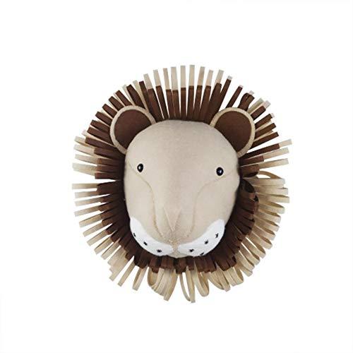 3D wanddecoratie, pluche hoofd dierkop wanddecoratie ornament voor kinderkamer kleuterschool, babykamer decoratie wandversiering voor jongens en meisjes leeuw