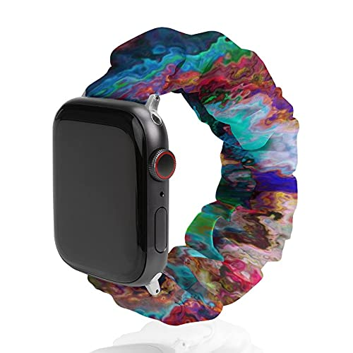 NiYoung Tie Dye Marble Elastic Watch Band Compatible with Apple Watch 38mm/40mm,42mm/44mm Bracelet Compatible with Iwatch Series 6/5/4/3/2/1 for Women Girls