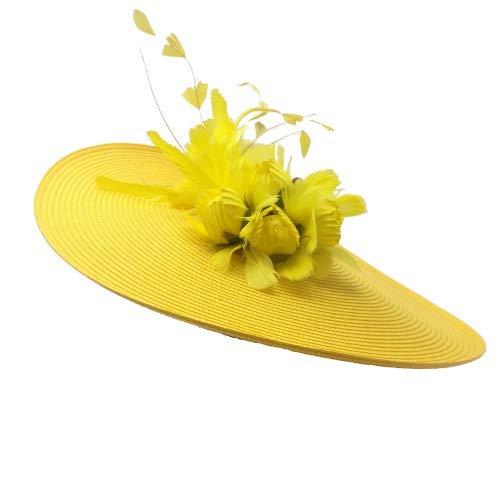 clasificación y comparación Flores, plumas y pamela de boda amarilla.  Combina vestidos cortos con bodas y cócteles… para casa