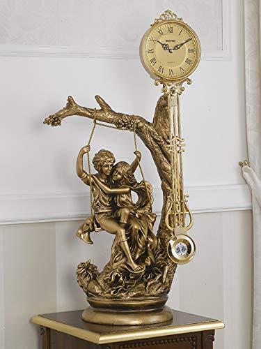 Simone Guarracino Tischuhr mit Pendel Paar Verliebte Imperial Barock Stil Gold