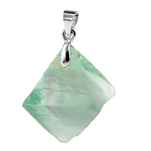 F Fityle Colgante de Cristal de Fluorita Verde Natural, Collar, Pulsera, Forma de Octaedro, Manualidades de Joyería DIY