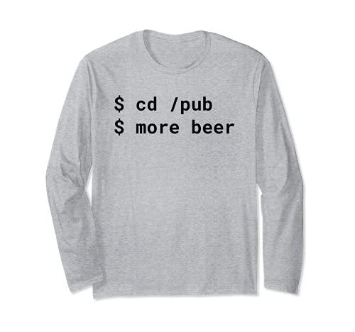 cd /pub più birra Pun Black Design per Command Line Hacker Maglia a Manica