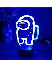 Among_us Nachtlampje 3D Illusie Astronaut Games Karakter Tafellamp USB Aangedreven 7 Kleuren LED Verlichting met Touch Schakelaar voor Kids Geschenken Slaapkamer Decoratie