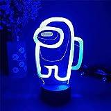 Luz nocturna 3D Illusion Juegos de astronauta lámpara de mesa con personajes alimentado por USB, 7 colores luces LED con interruptor táctil para niños regalos decoración de dormitorio