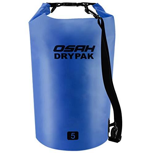 Borse Impermeabile Sacca Dry Bag 5L 10L 15L 20L 30L con Tracolla Regolabile per Spiaggia Sport d'Acqua Trekking Kayak Canoa Pesca Rafting Nuoto Campeggio (Blu scuro, 5L)