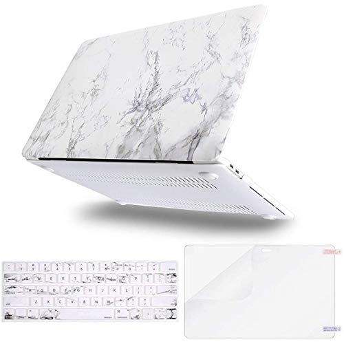 MOSISO MacBook Pro 13 inch Case 2019 2018 2017 2016 Release A2159 A1989 A1706 A1708, Plastic Pattern Hard Shell Case&Keyboard Cover&Screen Protector Compatible with MacBook Pro 13 inch, White Marble