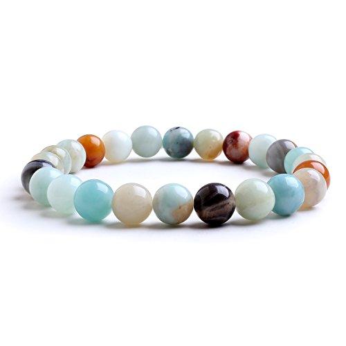 Candyfancy Bracciale Amazzonite 8MM Perles Beads Bracciali Pietre Naturali Braccialetti Perline Rotondo Braccialetto Perla Donna Uomo