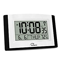 WallarGe Digital Wall Clock,Autoset Atomic Clock with Temperature and Date,Battery Operated Alarm Clock,Large Digital Display,Easy to Read Day of The Week.(No Backlight)