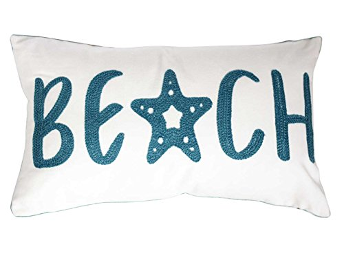 DECOPOW Embroidered Beach Throw Pillow Covers,Beach Decorative Canvas Pillow Cover for Nautical Style Deco 12 X 20 Inches (Beach 1220)