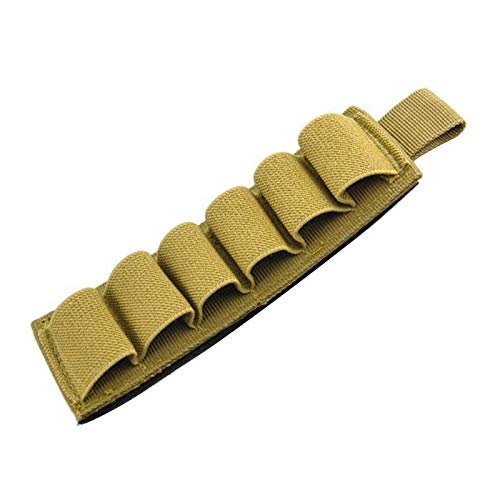 ZQO 6 Soportes de Cartucho de Escopeta Redondos Nylon táctico Airsoft Buttstock Butt Stock Soporte de munición con Tira Adhesiva