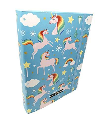 Theonoi hochwertige Kinder Box Sammelbox Heftebox Zeichenbox Dokumenten Dosier Ordner mit Gummizug Gummiband DIN A4 - wählbar: Frozen Einhorn Luna - Geschenk für Mädchen (Einhorn)